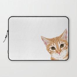 Peeking Orange Tabby Cat - cute funny cat meme for cat ladies cat people Laptop Sleeve