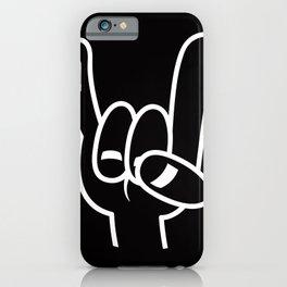 Heavy Metal Devil Horns White Line iPhone Case