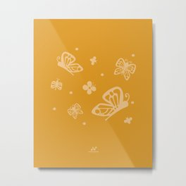 Butterfly Lace, Enchanted Garden  |  Yellow, Cream Metal Print