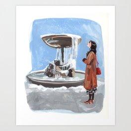 Bryant Park frozen fountain Art Print