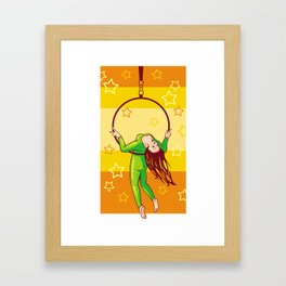 Trapeze-artist under the Circus dome Framed Art Print