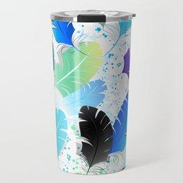 Seamless Pattern with Blue Feathers Travel Mug