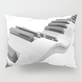 Keyboard of a piano waving on white background - 3D rendering Pillow Sham
