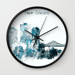 New Orleans Monochrome Blue Skyline Wall Clock