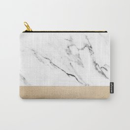 White Marble with Black and Copper Bronze Carry-All Pouch