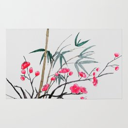 bamboo and red plum flowers Rug