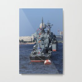 Warships moored on the Neva River. Aft / Stern of the ship. Day of the Russian Navy. Saint-Petersbur Metal Print