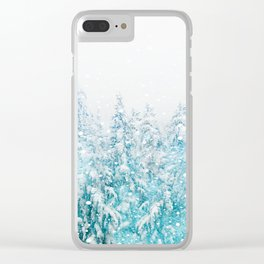 Snowy Pines Clear iPhone Case