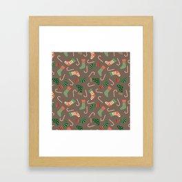Modern pastel green coral Christmas socks candy Framed Art Print