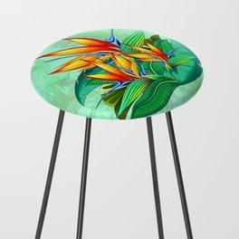 Bird of Paradise Flower Exotic Nature Counter Stool