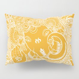 Ganesha Lineart Yellow White Pillow Sham
