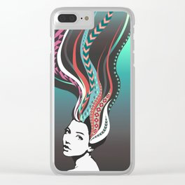 Girl with long colored waves hair Clear iPhone Case