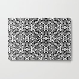 Polygon Flowers - Color: Black&White Metal Print