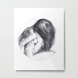Woman Hair Portrait Sketch Metal Print