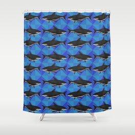 Sharks On Blue Tile Shower Curtain