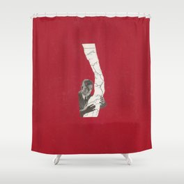 Torn Around — Red Map Shower Curtain