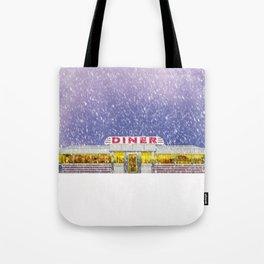 American Diner in Snowstorm Tote Bag