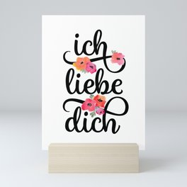 German I Love You Floral Mini Art Print