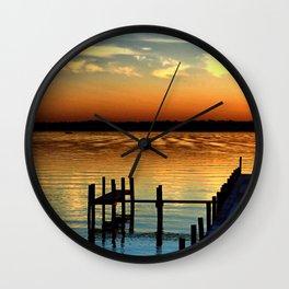 Sunset Over Clear Lake, Iowa Wall Clock