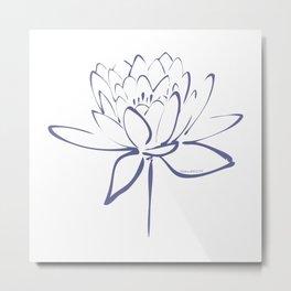 Lotus Blossom Calligraphy Blue Metal Print