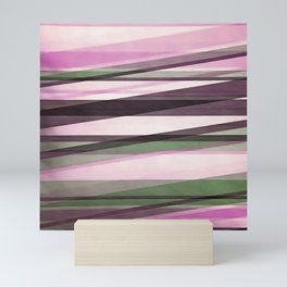 Semi Transparent Layers In Mint Pink and Morello Mini Art Print