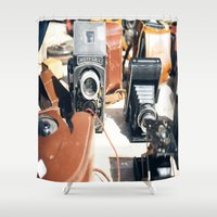 cameras Shower Curtains featuring Vieux Nice Vintage Cameras by ExperienceTheFrenchRiviera