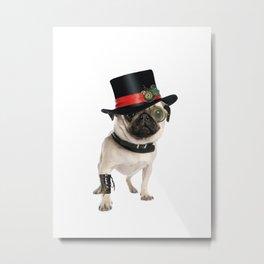 Steampunk Pug Dog Metal Print