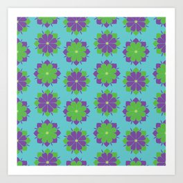 Purple + Green Power Flower Art Print