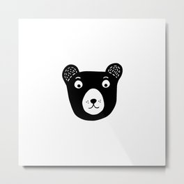 Cute black and white bear illustration Metal Print