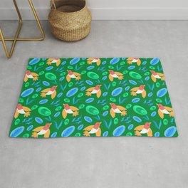 Pretty beautiful cute little birds and green blue delicate leaves green pattern. Gift ideas. Nursery Rug