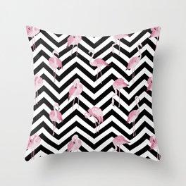 Flamingo pattern on black striped chevron background Throw Pillow