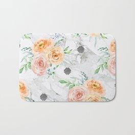 Beautiful Pastel Flowers on Marble Bath Mat