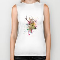 deer Biker Tanks featuring deer by mark ashkenazi