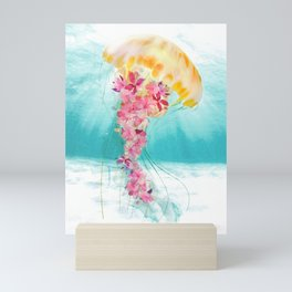 Jellyfish with Flowers Mini Art Print
