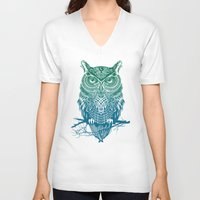 dot V-neck T-shirts featuring Warrior Owl by Rachel Caldwell