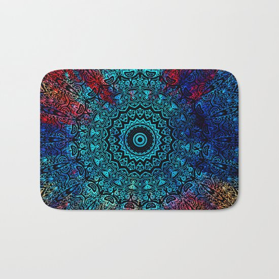 Bohemian Passion Blue & Red Mandala Design Bath Mat