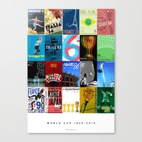 world cup Canvas Prints featuring World Cup: 1930-2014 by James Campbell Taylor