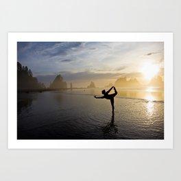 Yoga at Shi Shi Beach, Washington Color Art Print