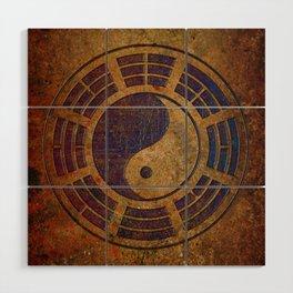 Purple Yin Yang Sign on Granite Wood Wall Art