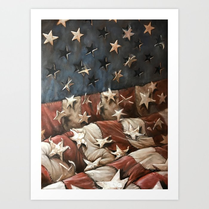 falling stars and stripes Art Print