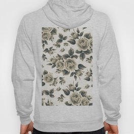 Country chic vintage black white bohemian floral Hoody
