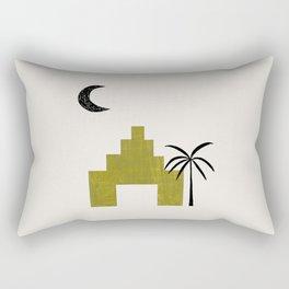 Avocado Green Ancient Ruin Minimalist Mid Century Modern Architecture Moon Palm Tree by Ejaaz Haniff Rectangular Pillow