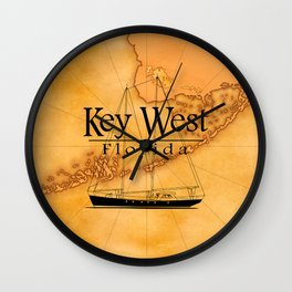 Key West Sailing And Nautical Map Wall Clock
