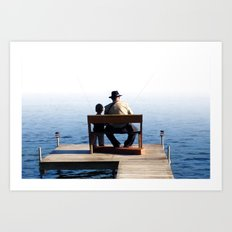 Grandson and Grandfather fishing on the end of a Boat Art Print