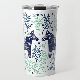 Swedish Dala Horse – Navy & Mint Palette Travel Mug