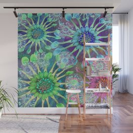 Abstract Passion Flower Burst Wall Mural