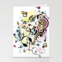headphones Stationery Cards featuring Headphones by AURA-HYSTERICA