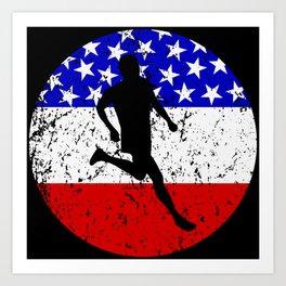 American Flag Running Art Print
