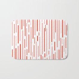 Leitungen Minimalist Pink, Red, and White Interrupted Line Pattern Bath Mat