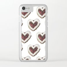 Valentine Heart Cookie Pattern Clear iPhone Case
